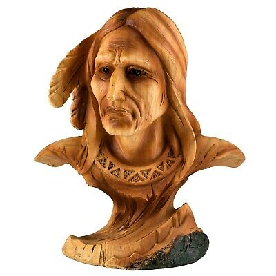 """Mini Bust Native American Indian Brave Faux Carved Wood Look Figurine Resin 4""""H"""