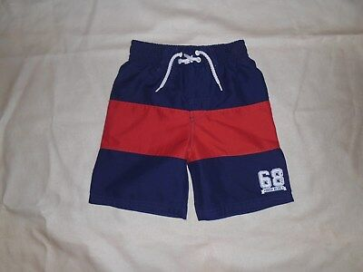 George Navy and Red Striped Swim Shorts Age 18-24 Months