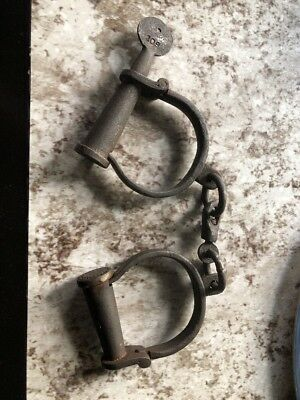 Antique Iron Handcuffs with Screw Key. Working Great. Vintage