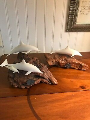 Pair Of John Perry Burlwood Sculptures Dolphins~Numbered