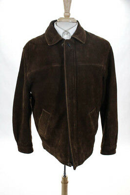 RAINFOREST Brown Leather Long Sleeve Collared Zip Up Bomber Coat Size Medium