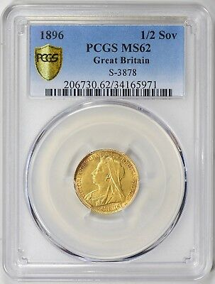 1896 Great Britain 1/2 Sovereign S-3878 Gold Coin PCGS MS62
