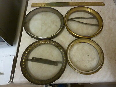 4 Antique French Clock Bezels & Glasses