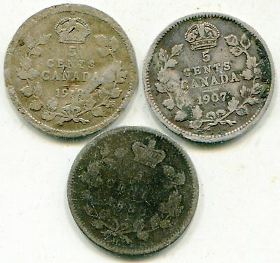 Canada 5 Cents Silver 1907 + 1918 + 1880-H all rather rough lotsep4110
