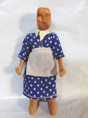 vintage HANDMADE hand carved crafted WOOD old lady women TOY doll FOLK ART