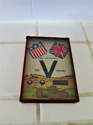 Vtg WWII Victory Game Keep Em Rolling Dexterity Puzzle Flags Homefront near Mint