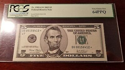 Fr.1989-G* $5 2003 CHICAGO STAR FEDERAL RESERVE NOTE PCGS 64 PPQ