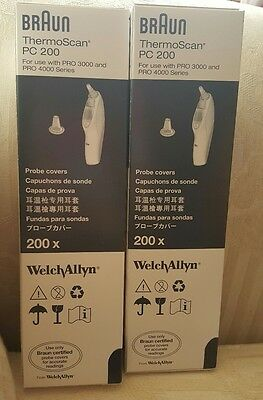 (2)Welch Allyn Braun ThermoScan PC 200 Probe Covers Box of 200 pieces New In Box