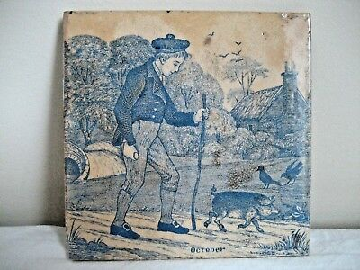 Antique Victorian Josiah Wedgwood & Sons Etruria Month Tile For October