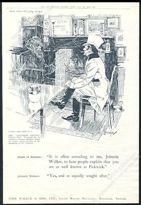 1924 Johnnie Walker Scotch Whisky Charles Dickens ghost BIG UK vintage print ad