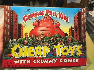 1986 Garbage Pail Kids Box Of 24 Bags Of Cheap Toys With Crummy Candy,mint Cond!