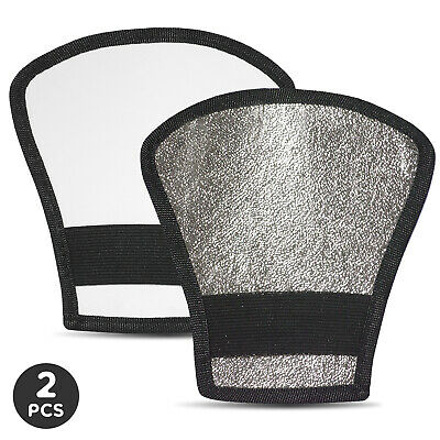 |2-Pack| Photography Reflector with Elastic Strap Reversible Flash Diffuser