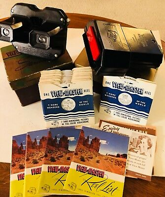 Vntg Bakelite Viewmaster w/ Light Attachment, Original Boxes & 21 Reels TESTED!
