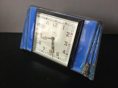 1936 art deco Adie Bros HM silver and guilloche enamel easel back clock a/f
