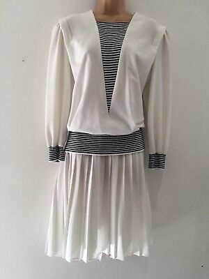 Vintage 80's White & Navy Blue Nautical Look Pleated Ribbed Panel Day Dress 16