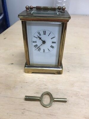ANTIQUE FRENCH ?? BRASS 8 DAY TIMEPIECE CARRIAGE CLOCK - WORKING + Key