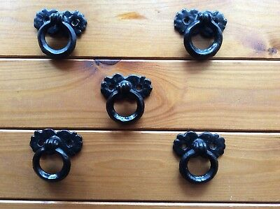 Five Black Antique Style Metal Ring Handles 50mm x 40mm