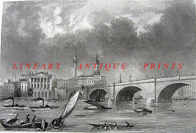 LONDON BRIDGE Thames River GREAT FIRE MONUMENT BOATS ~ 1851 Art Print Engraving