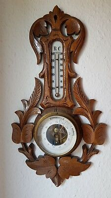 Alte Wetterstation Barometer Thermometer Hygrometer Holz Dachbodenfund