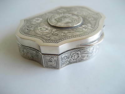 Spanish Solid Silver Fluted Trinket Box Coin on Lid Gilded Interior