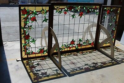 large stained glass window set, late 60's .Hard to find huge. combined 9x4 feet