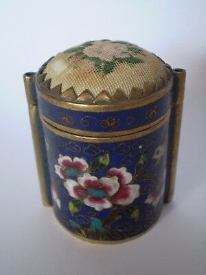 Stunning Cloisonne Enamel Needle Case With Embroidery Top, Floral Deisgn..