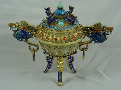 CHINESE solid silver , JADE and enamel `DRAGON` design TRIKET POT, c1960, 354gm