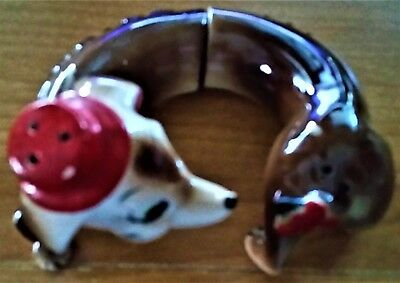 DOXIE~WEINER Dog Figurine CHASING TaiL Salt & Pepper Shakers