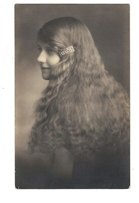 Mb8451 Young Girl With Very Long Hair With Art Deco Jewel Rppc