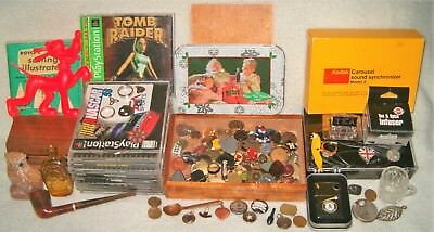 ESTATE JUNK DRAWER LOT *ZIPPO Lighter Playstation MARX Pins Doo-Dads AND MORE