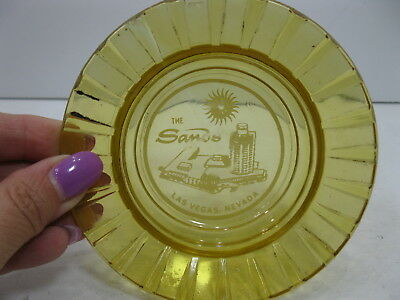The Sands Round Amber Glass Ashtray Las Vegas Casino Hotel Vintage