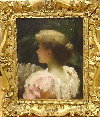 19th Century English Summer Garden Girl Portrait In A Pink Dress Oil Painting