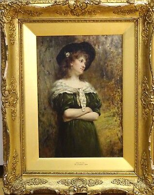 19th Century English Lady Waiting Portrait Antique Oil Painting Thomas COWPER
