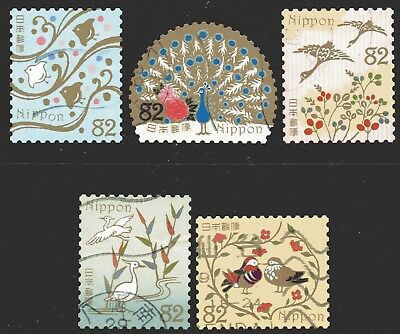 Japan 2017 82y Traditional Japanese Design 3rd Issue set of 5 Fine Used