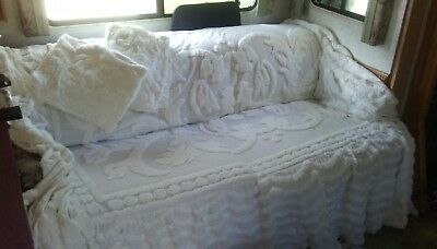 Vintage Day Bed Chenille White 3 Pillow Shams