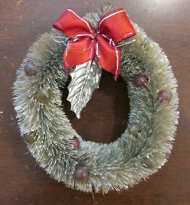 "1950s Bottlebrush Mica Glass Balls Silver Leaf REd Bow Wreath 4"" length"