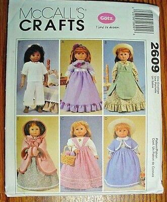 """McCall's Doll Clothes Pattern # 2609-Gowns & PJ's For 18"""" Gotz & Other Dolls-Unc"""