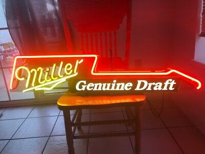 vintage guitar miller beer neon sign