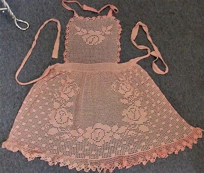 Vintage Peach Color Hand Crocheted Bib Apron w Filet Roses & Ruffles - Cute!
