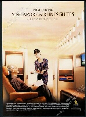 2007 Singapore Airlines Suite First Class stewardess photo vintage print ad