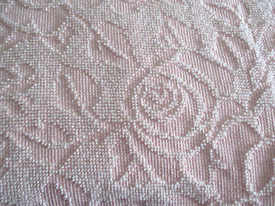 "VTG. Pc. Chenille Fabric 48"" x 76"" Short Chenille PINK & WHITE Floral Crafts"