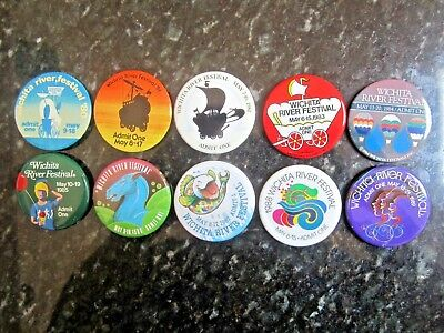 1980-1989 Wichita River Festival Buttons 10 Buttons FREE SHIPPING