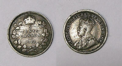 1913 Canada Sterling Silver 5 Cents Vf Inv#341-35