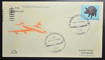 LUXEMBOURG via Iceland to USA 1973 Rare LOFTLEIDIR Icelandic Airline FFC Cover >