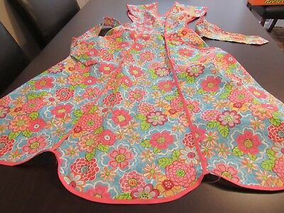Vintage Blue Pint Floral Print Cotton Bib Apron w 2 Large Pockets Pink Binding T