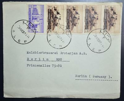 SYRIA to Beer Brewery in GERMANY 1953 Multifr Cover ALEPPO to Berlin !!!, Syrien