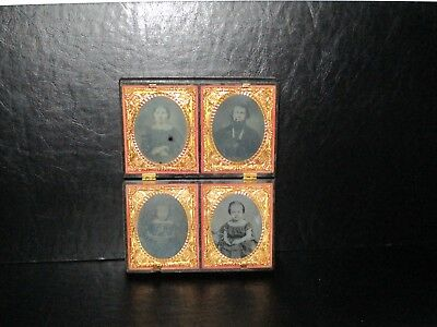 Ambrotype x 4 photos in 1 union case Father mother 2 little girls