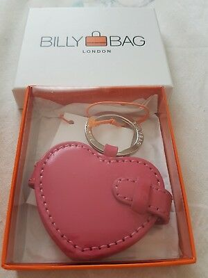 Pink Leather Billybag Heart Keyring With Photo Holders, BNIB