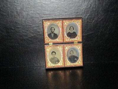 Ambrotype x 4 photos in 1 Union case Father Mother son and daughter