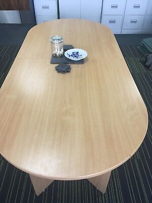 Used Boardroom/Conference/Meeting Table & Six Blue/Chrome Chairs